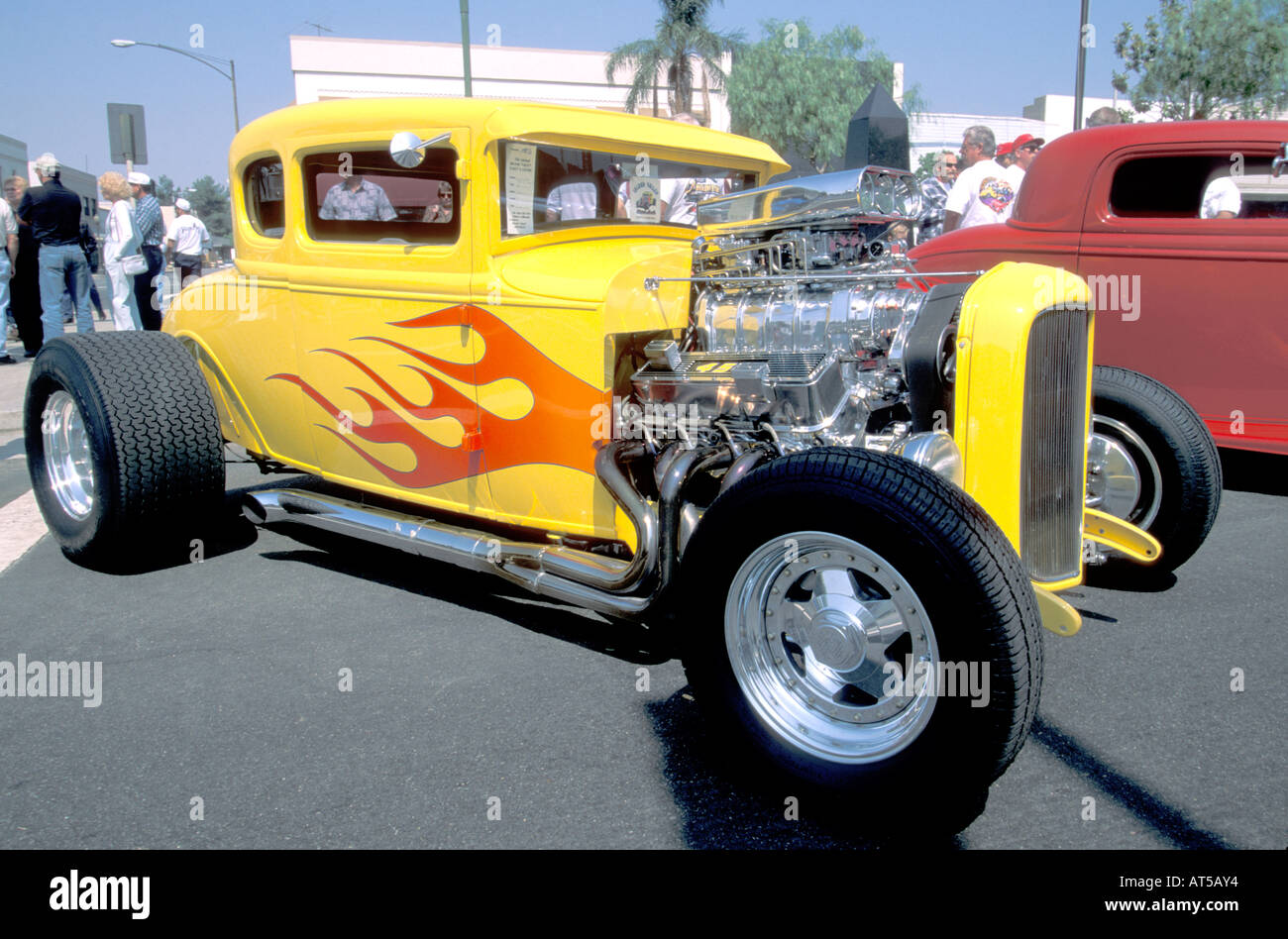 Yellow with red flames supercharged V8 hot rod coupe Stock Photo ...