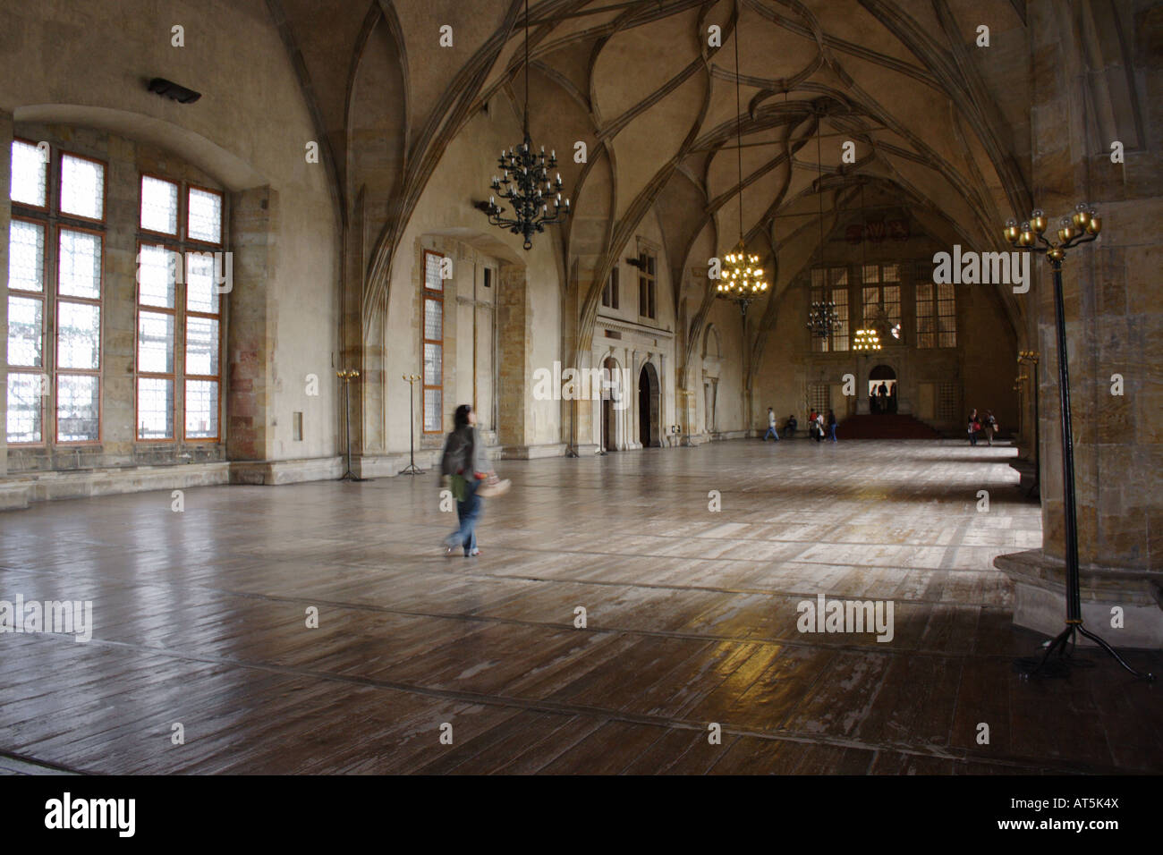 Medieval prague castle interior large hall floor stock for Hall interior images