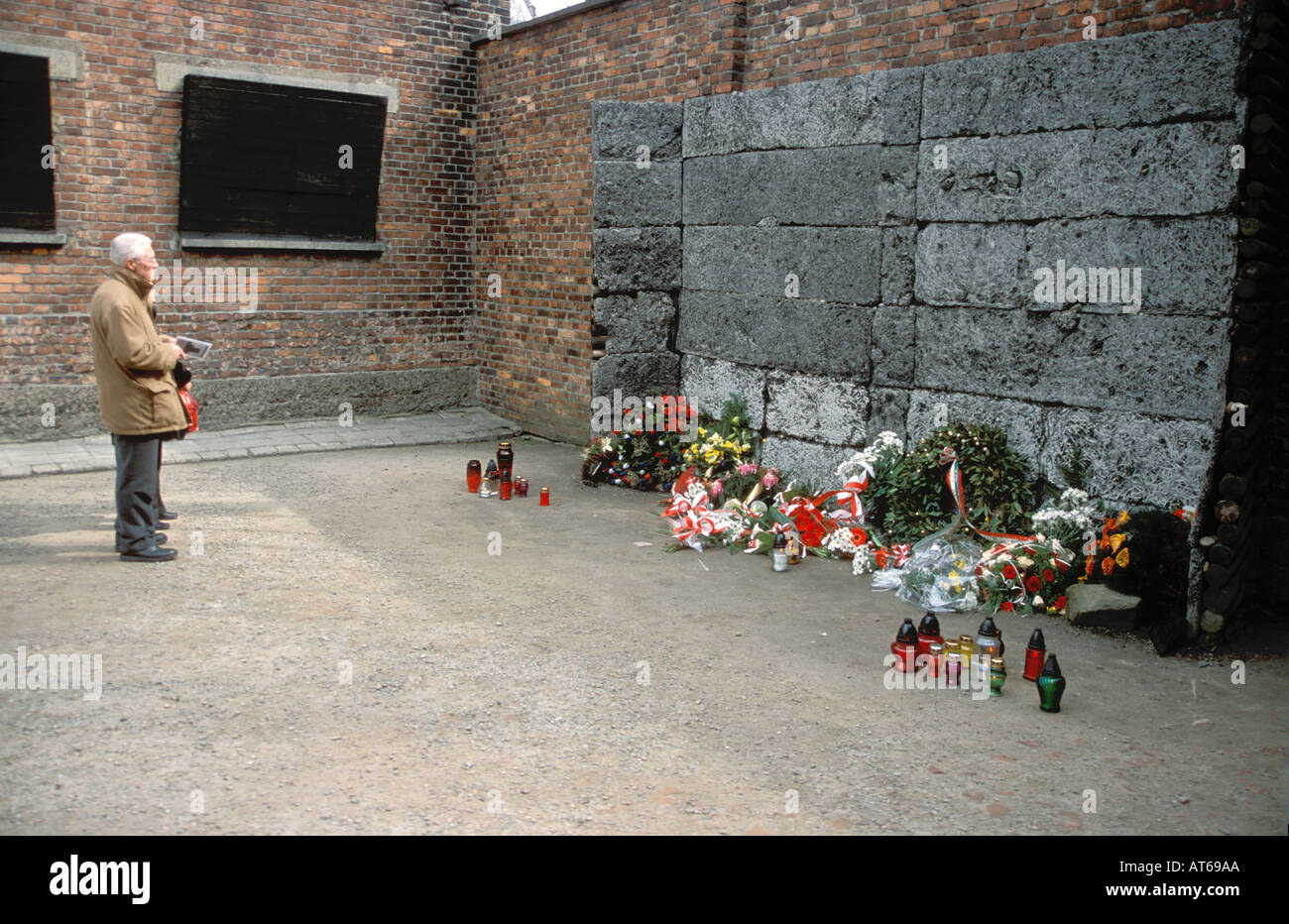 Wall where nazi firing squads killed jewish people during the stock