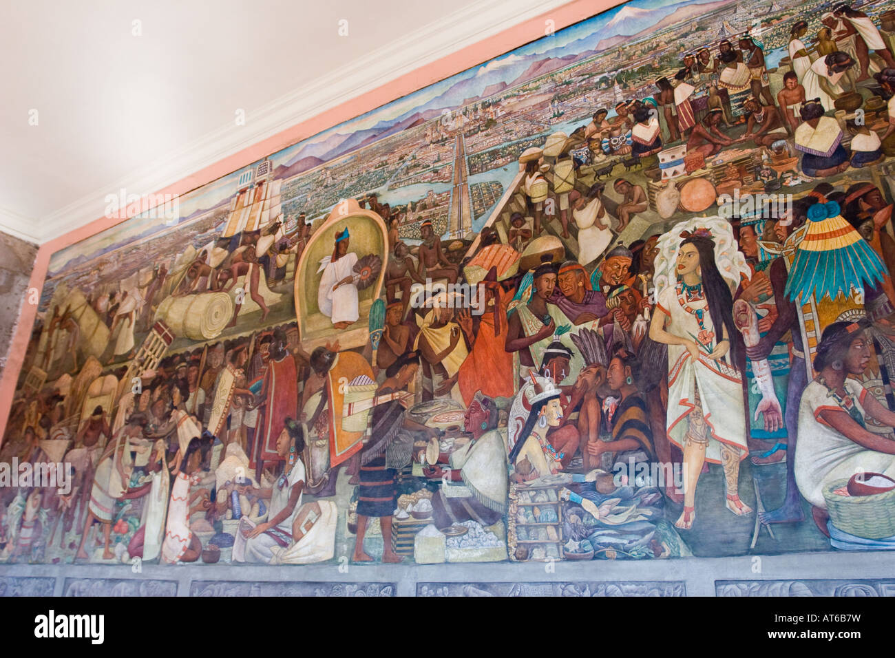 The great tenochtitlan diego rivera fresco mural 1945 for Aztec mural painting
