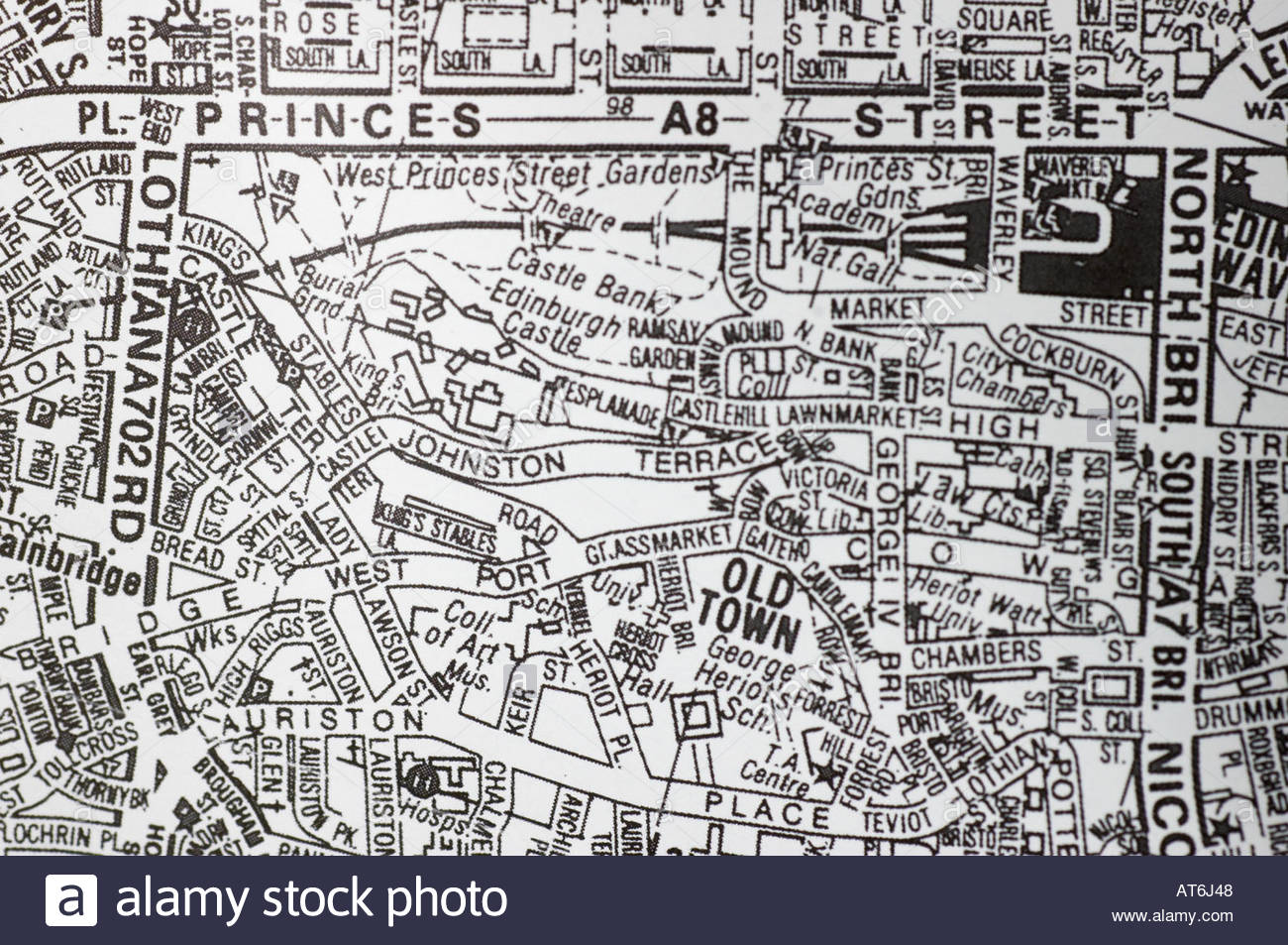 Worksheet. City centre map of Edinburgh Scotland in black and white Stock