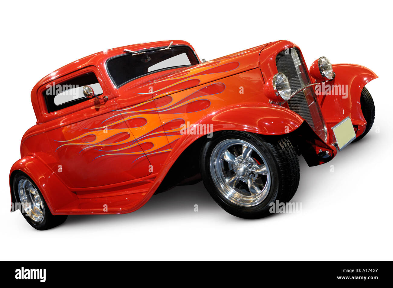 Red hot rod ford 3 window coupe 1932 retro car stock photo for 1932 ford 3 window coupe hot rod