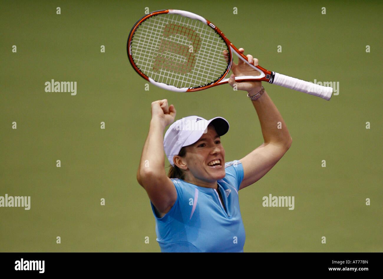 Belgium s Justine Henin Hardenne celebrates after winning the Sony