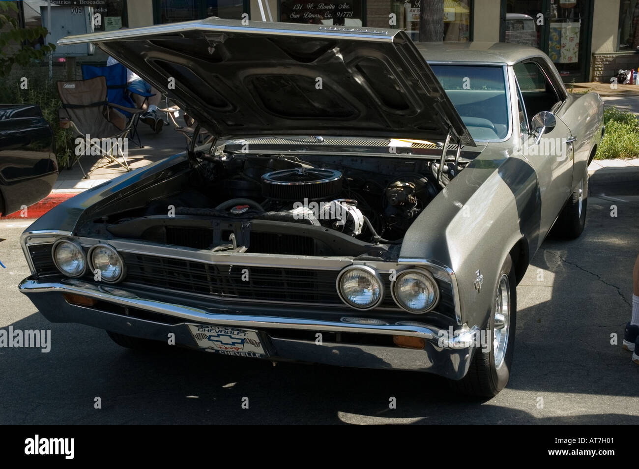 Los angeles california car show antique customized chevrolet chevy chevelle 1967 67 grey gray open hood engine coupe 2 two door