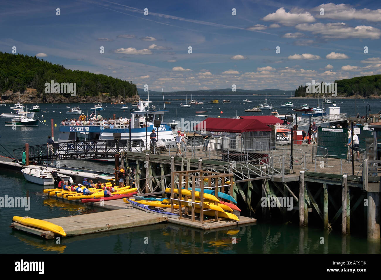 Piers boats kayaks and lobster trap buoys in Bar Harbor Maine Stock Photo, Royalty Free Image ...
