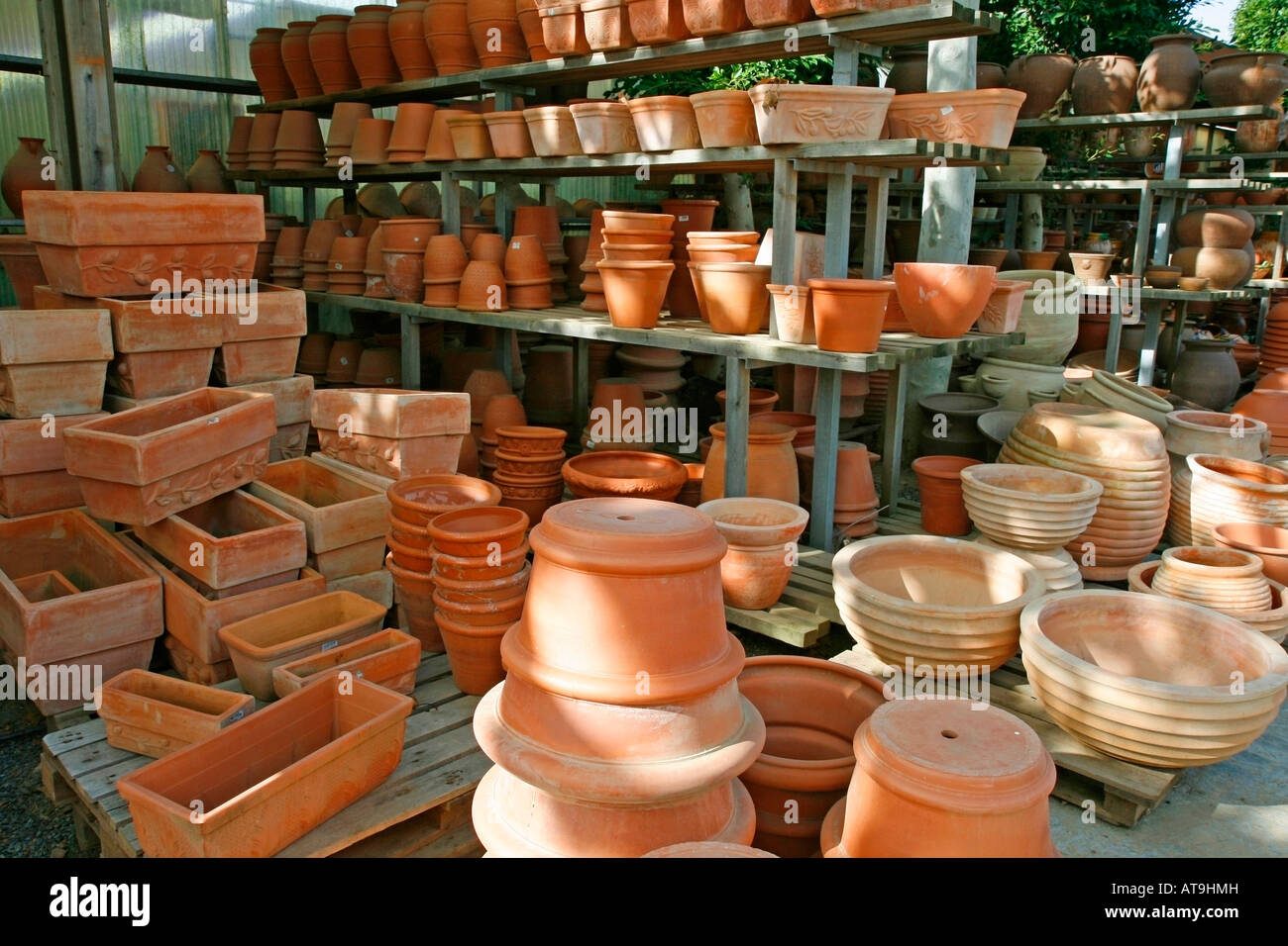 Display Of Terracotta Pots For Sale In Garden Center   Stock Image