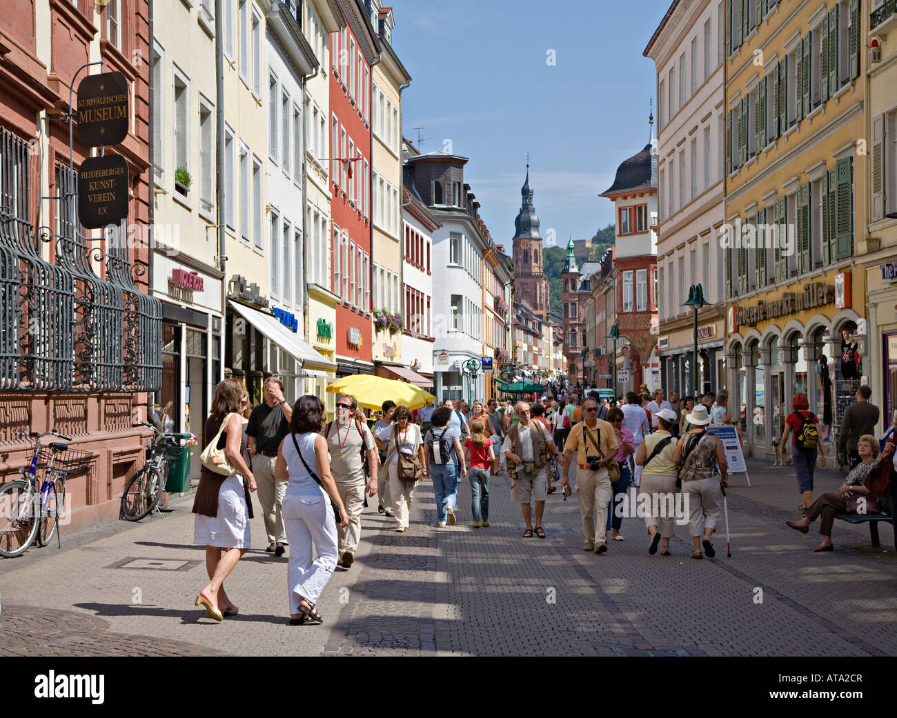 people walking through main shopping street in centre of heidelberg stock photo 16251574 alamy. Black Bedroom Furniture Sets. Home Design Ideas