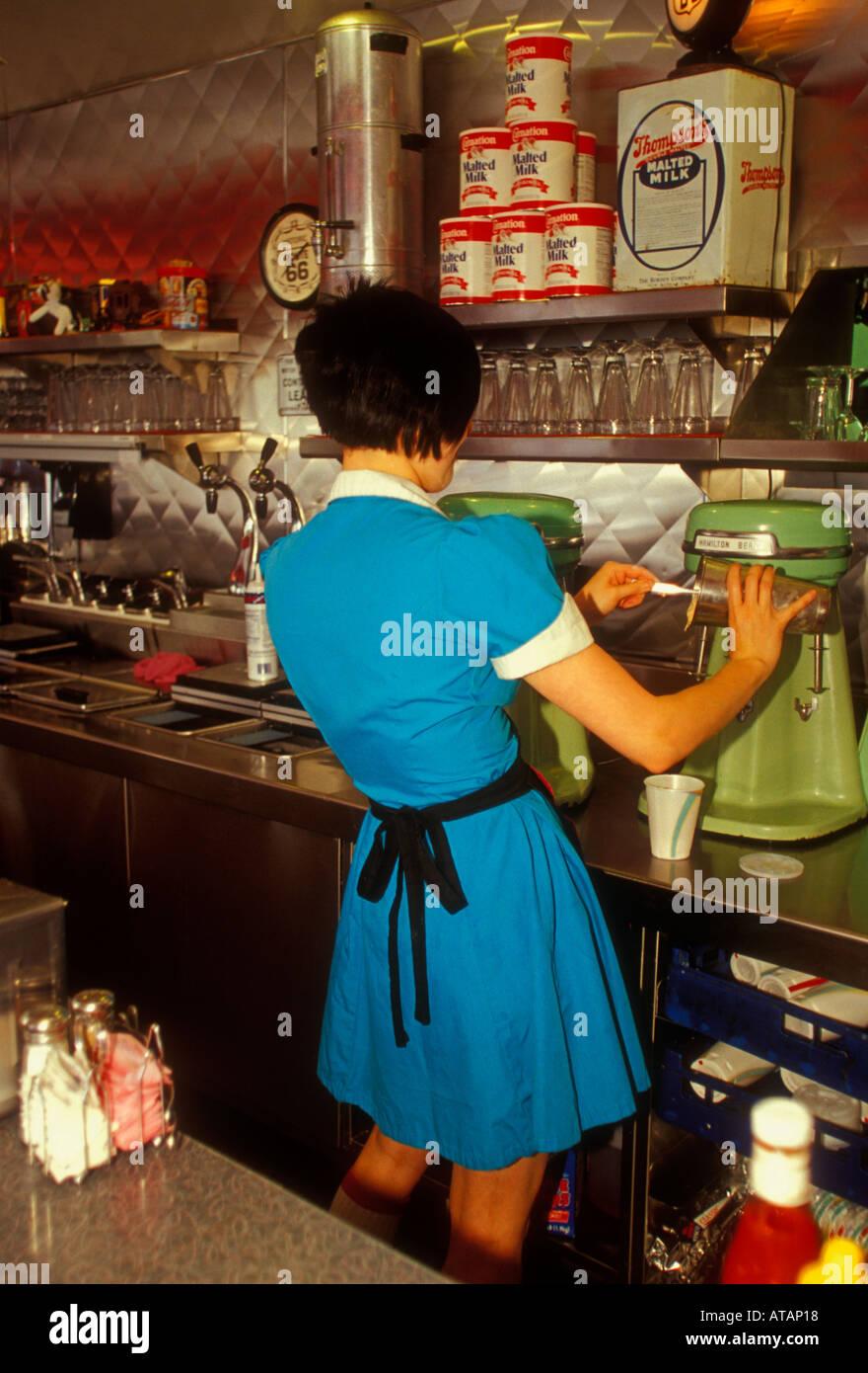 New mexico bernalillo county - Stock Photo Waitress Milkshake Route 66 Diner Albuquerque Bernalillo County New Mexico United States North America