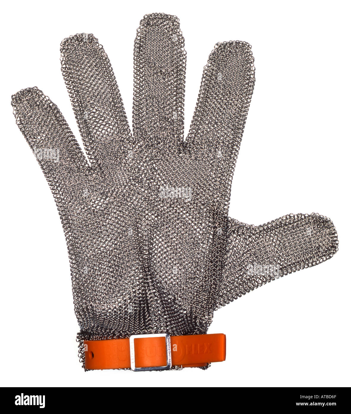 metal cutting and oyster glove like chain mail stock photo  - stock photo  metal cutting and oyster glove like chain mail