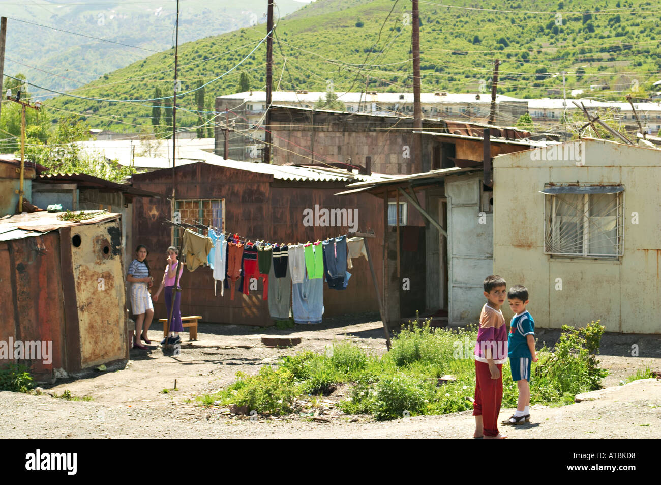 armenia vanadzor children outside shipping containers turned into