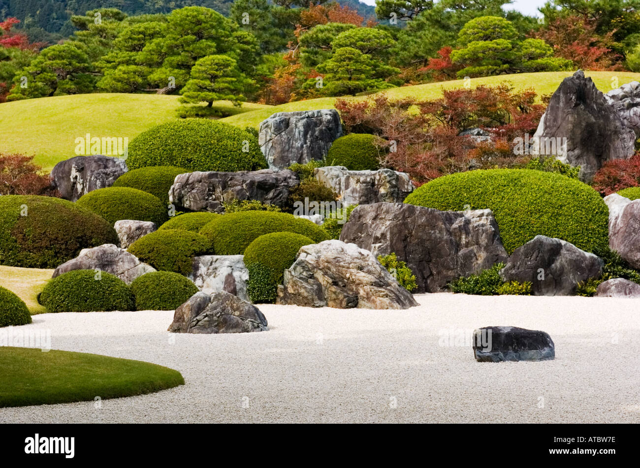 detail of dry landscape garden at famous adachi museum of art in stock photo royalty free image. Black Bedroom Furniture Sets. Home Design Ideas