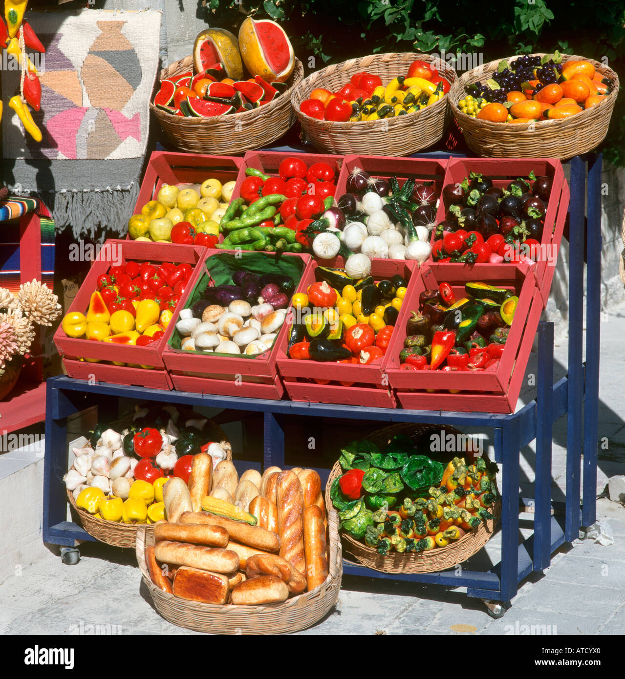Artificial Fruit And Vegetables, Playa Del Carmen, Mayan Riviera, Quintana  Roo, Yucatan Peninsula, Mexico