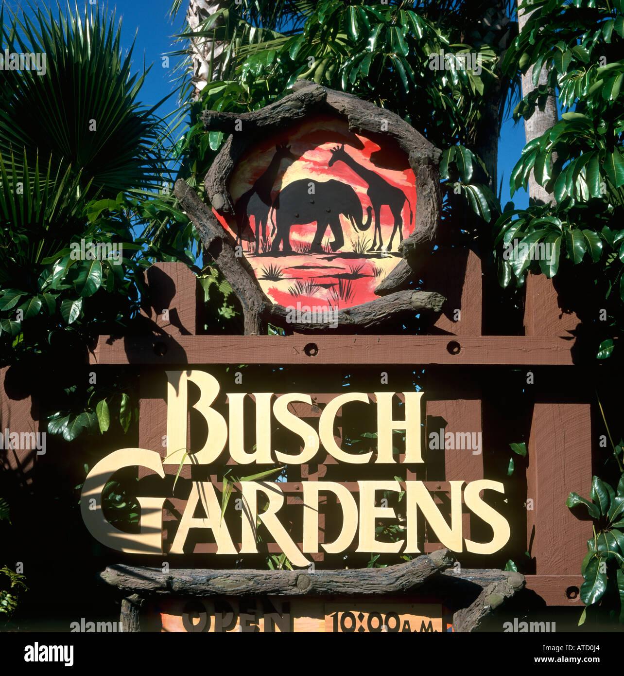 Entrance Sign To Busch Gardens Tampa Florida USA Stock Photo