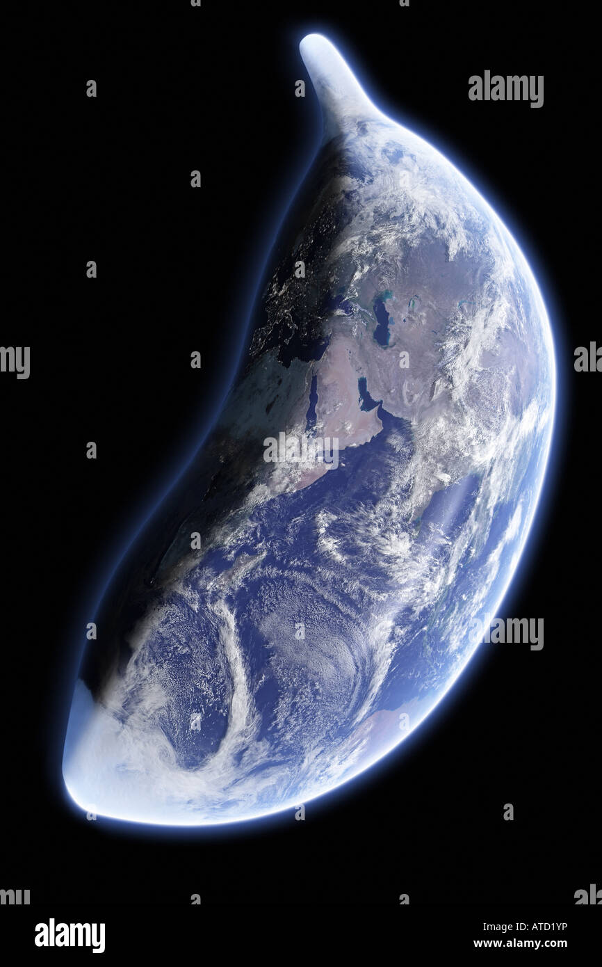 Earth As A Banana Against Black Space Original World Map Texture - World map from outer space