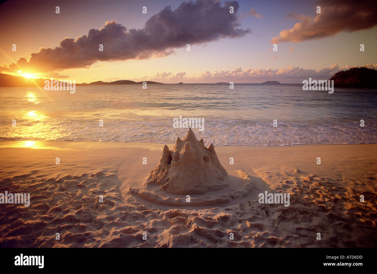 A Sand Castle Stands On The Beach At Sunset Caribbean Island Of St John In US Virgin Islands