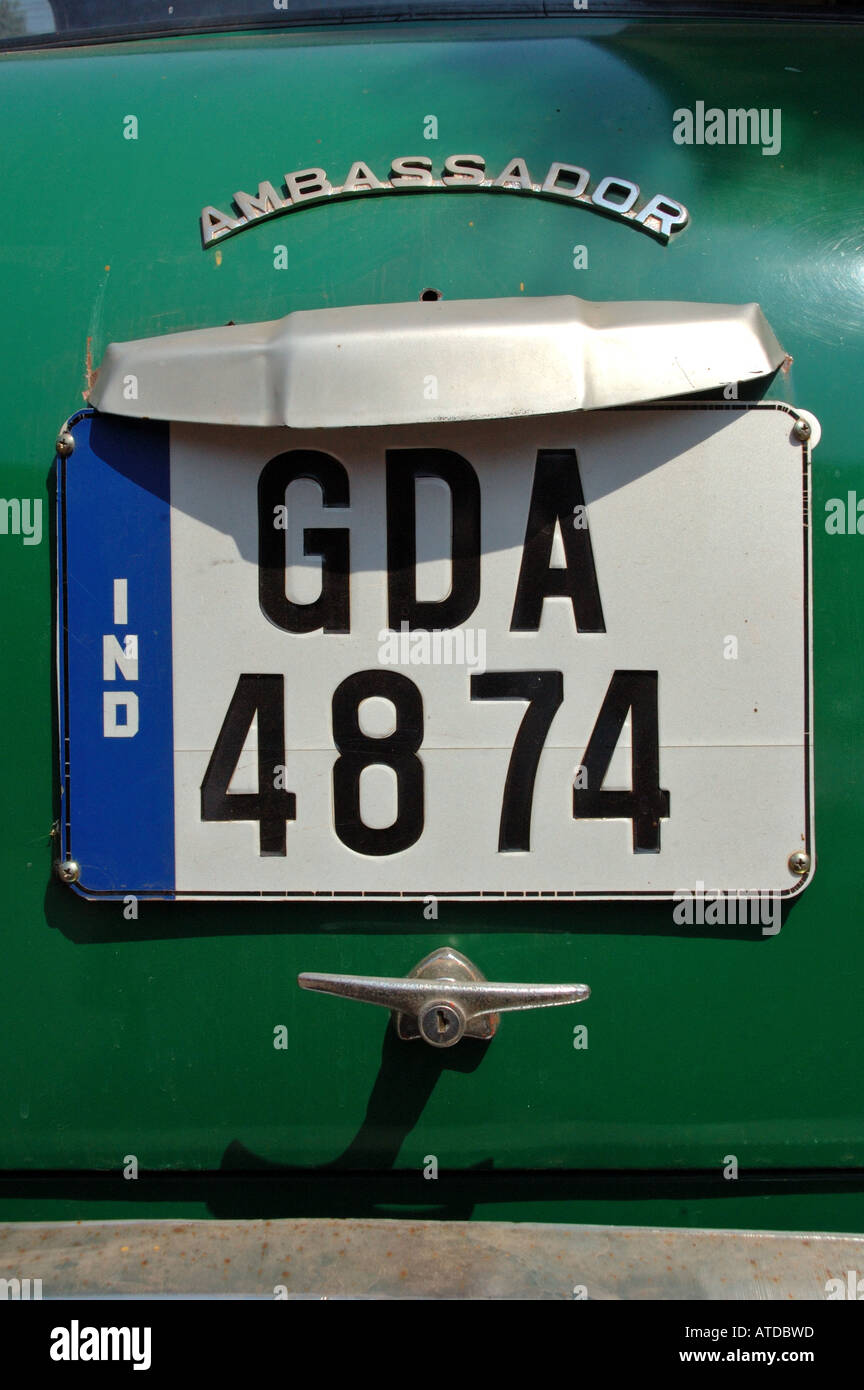 Old rear number plate of the Province of Goa on a green Ambassador ...