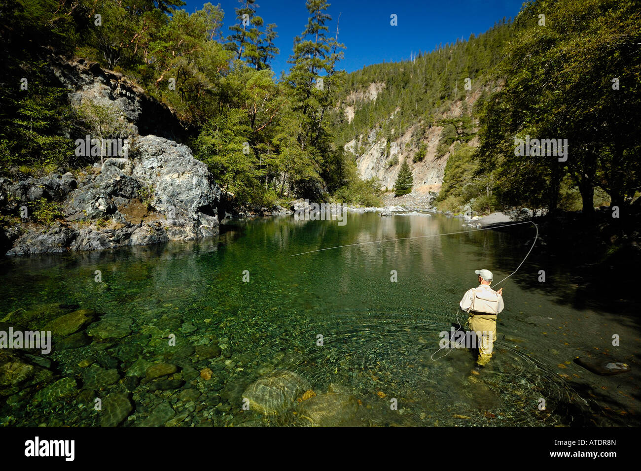 flyfishing on the smith river california stock photo
