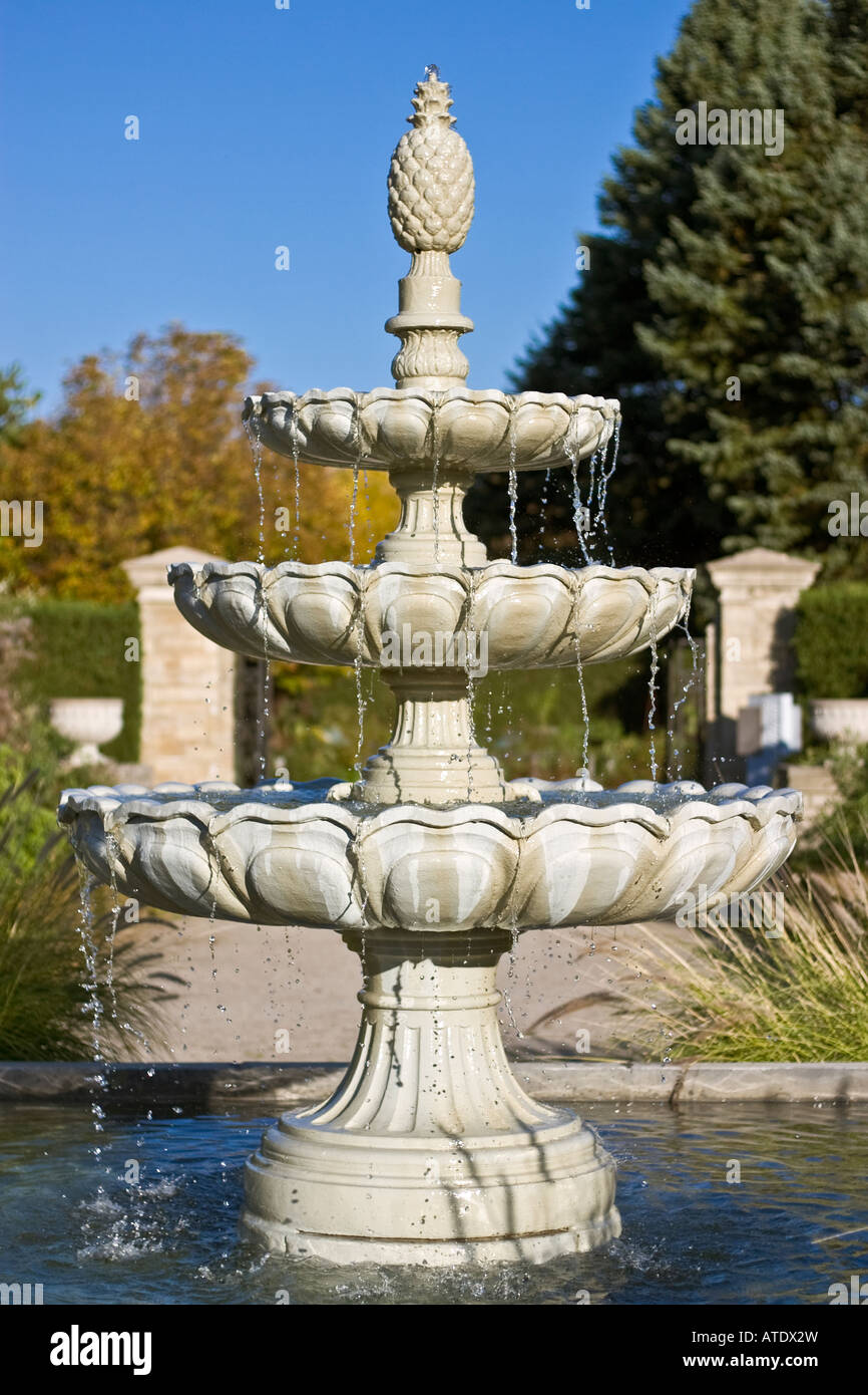 Three Tiered Pineapple Topped Garden Water Fountain