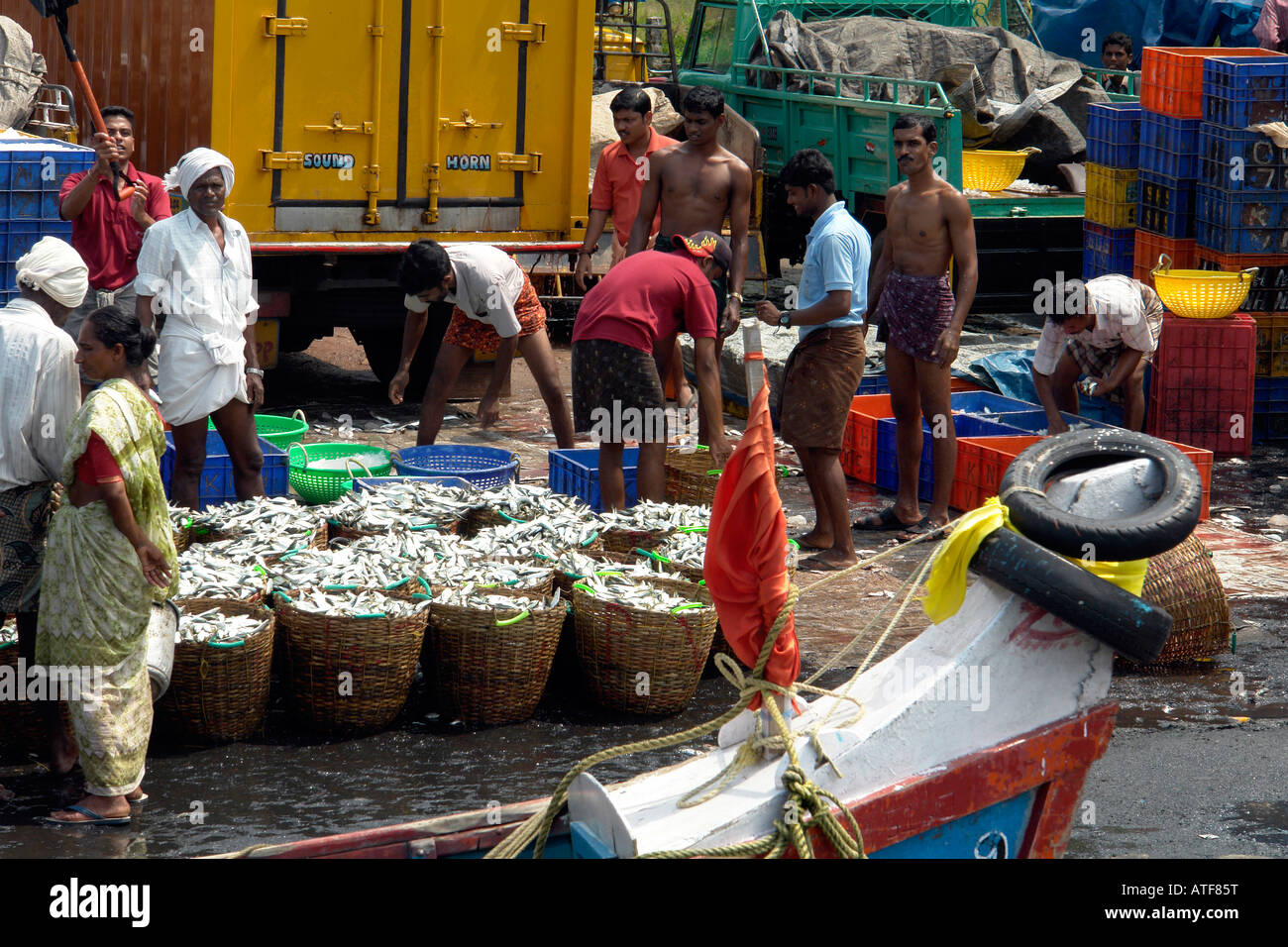 Scene at the local fish market on the kerala backwaters for Andreas fish market