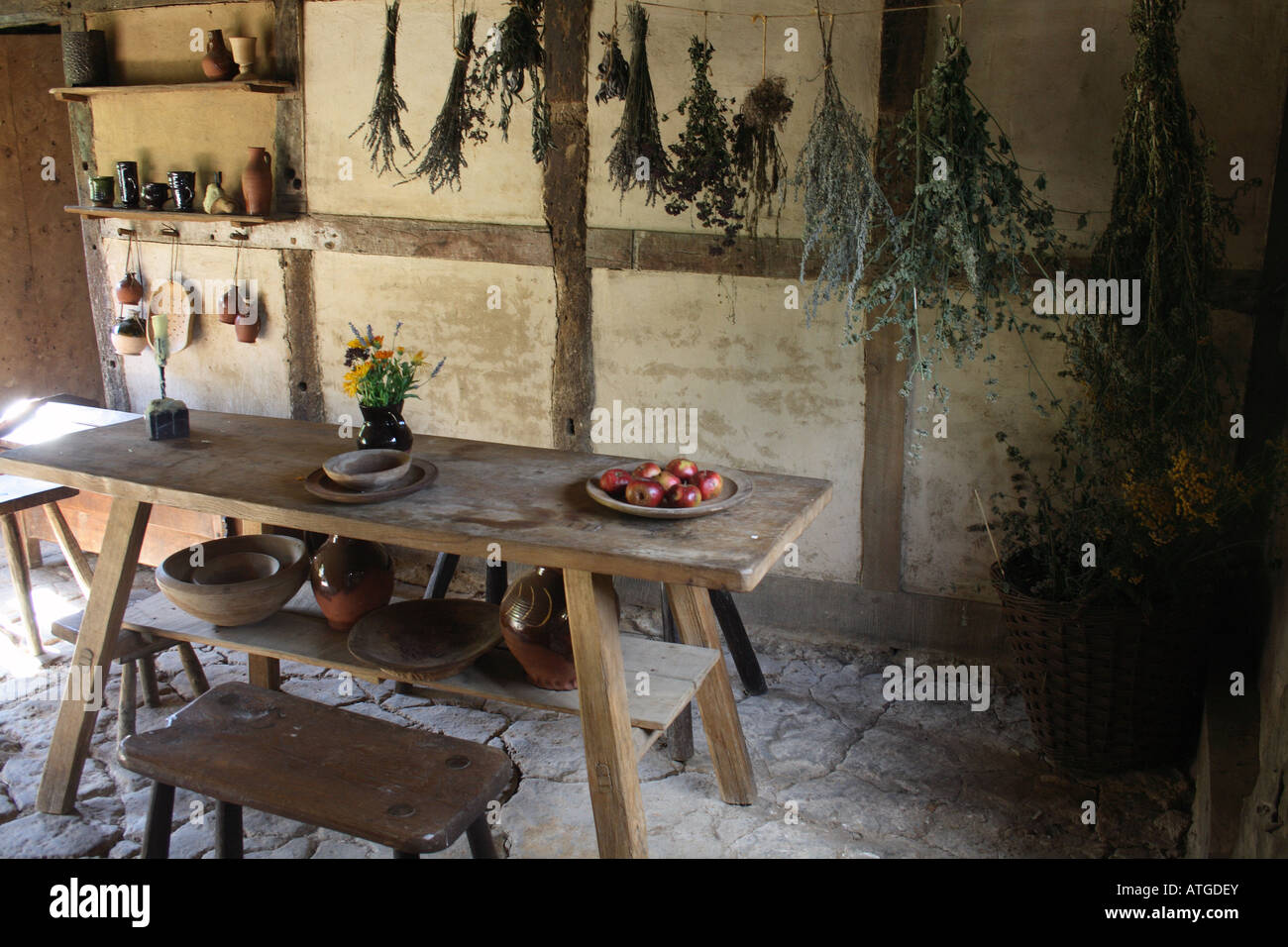 Inside Old Country Cottage Kitchen