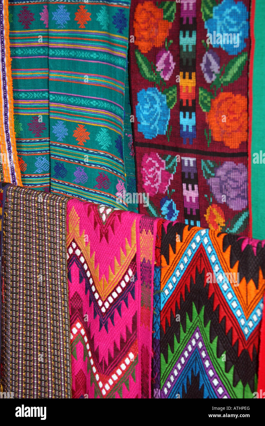 Mayan Textiles Hung For Sale In A Small Craft Market In