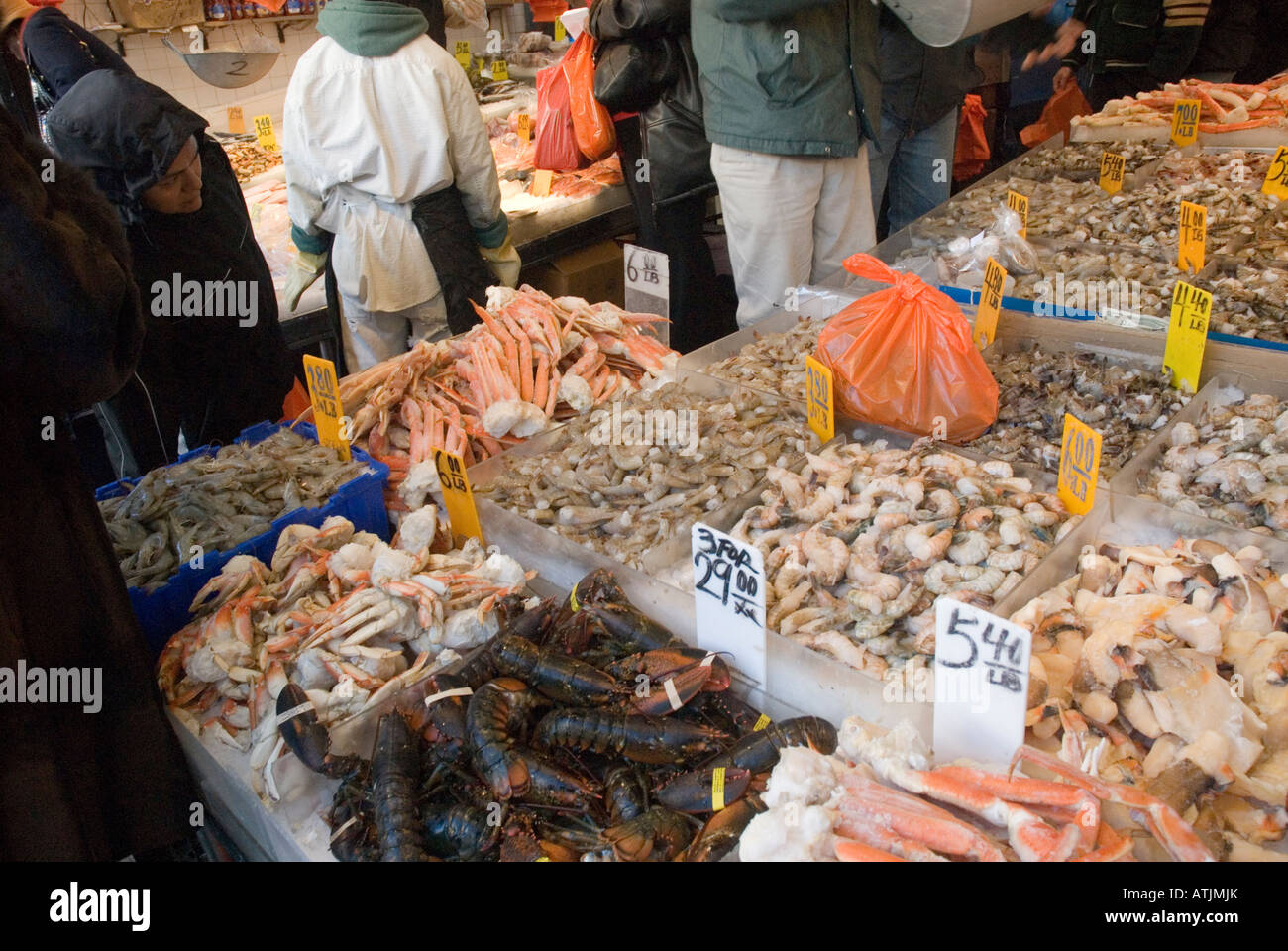 outdoor fish market on canal street in chinatown new york