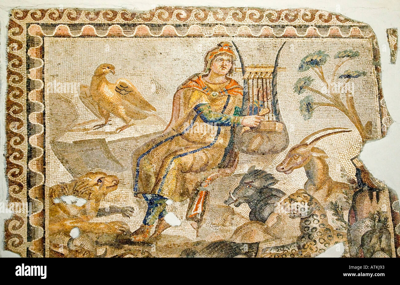 Orpheus playing his lyre, and Beasts mosaic, Tarsus, 3 rd ...
