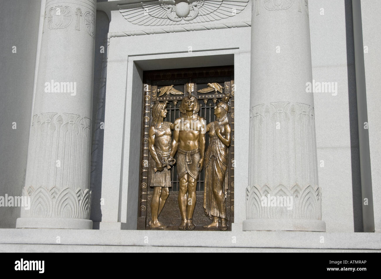 Ancient egyptian design in mausoleum building with bronze doors and columns. & Ancient egyptian design in mausoleum building with bronze doors ... Pezcame.Com