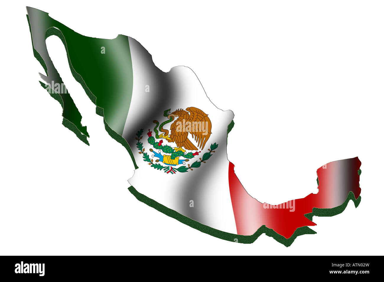 outline map and flag of mexico stock photo royalty free image