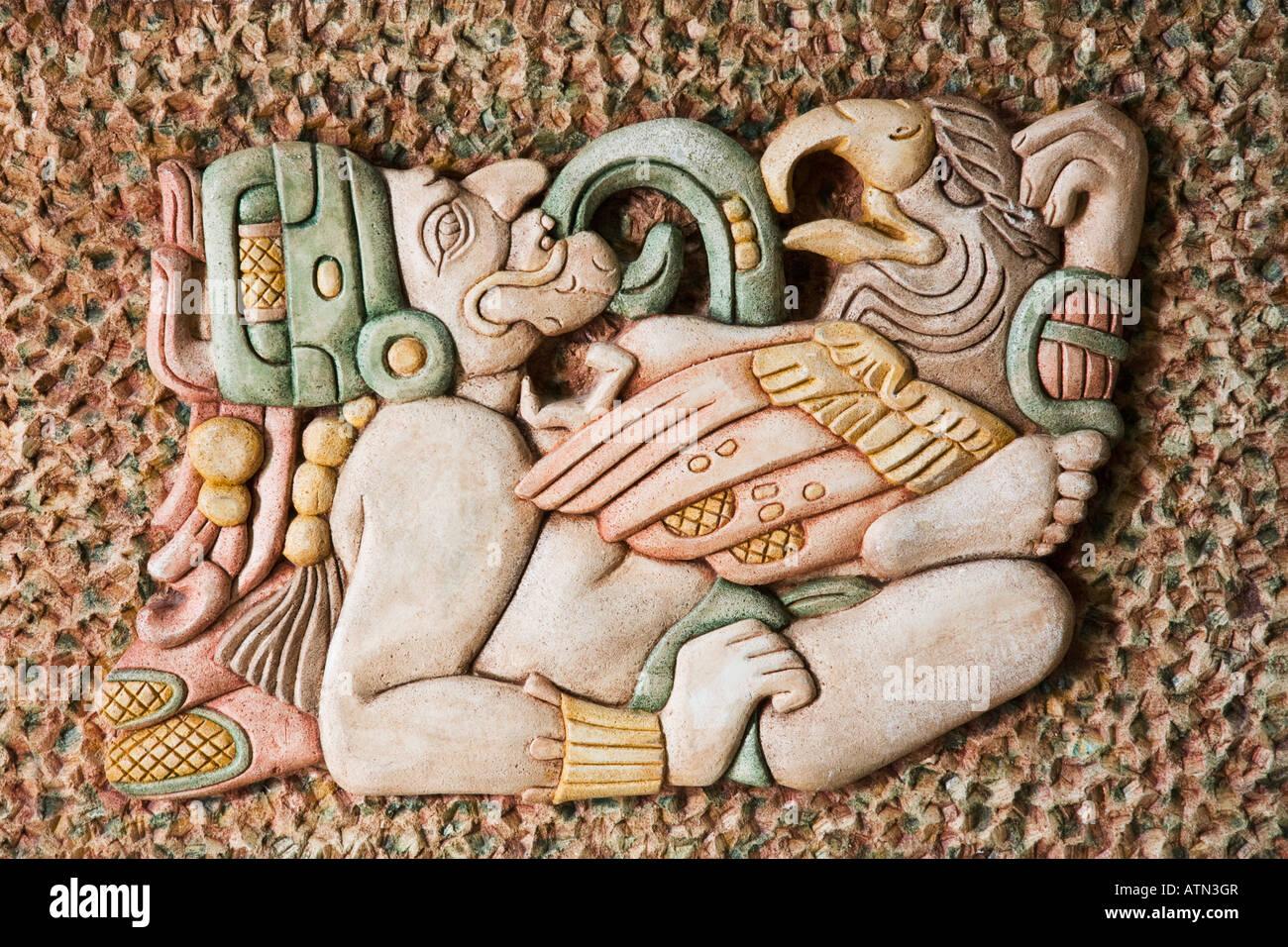 Replica Of Mayan Art In The Yucatan Peninsula Mexico