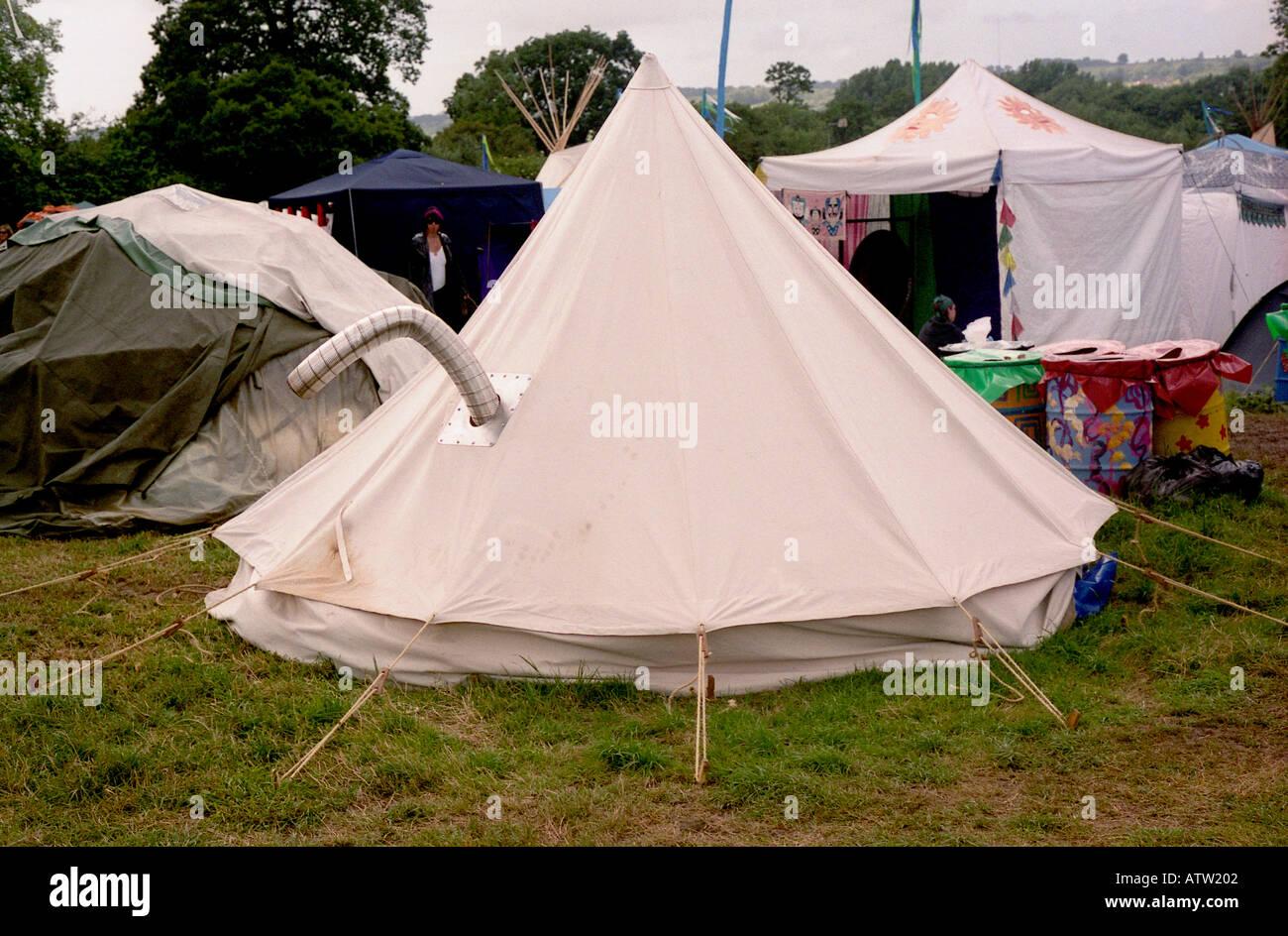 Tent with chimney Glastonbury Festival 2004 & Tent with chimney Glastonbury Festival 2004 Stock Photo Royalty ...