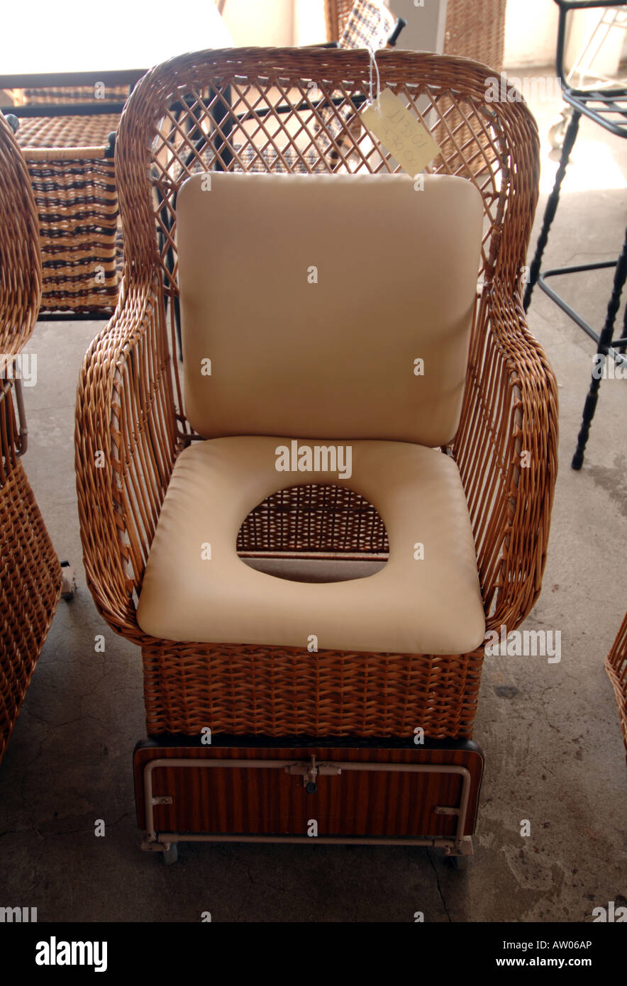 wicker chair commode toilet lavatory