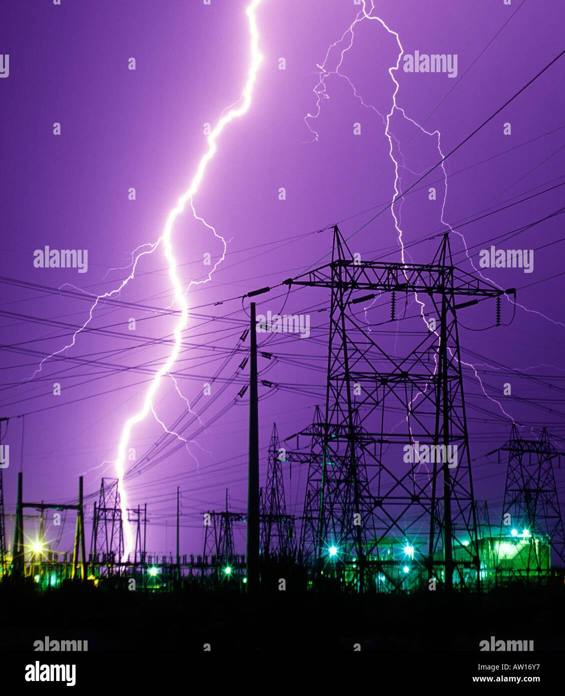 A huge bolt of lightning striking an electrical substation near ... for Electricity Lightning Bolt  165jwn