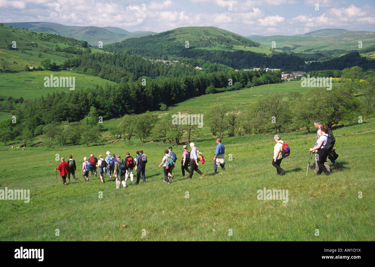 ward law stock photos ward law stock images alamy langholm walking festival walkers walking off ward law hill potholm hill behind in the the