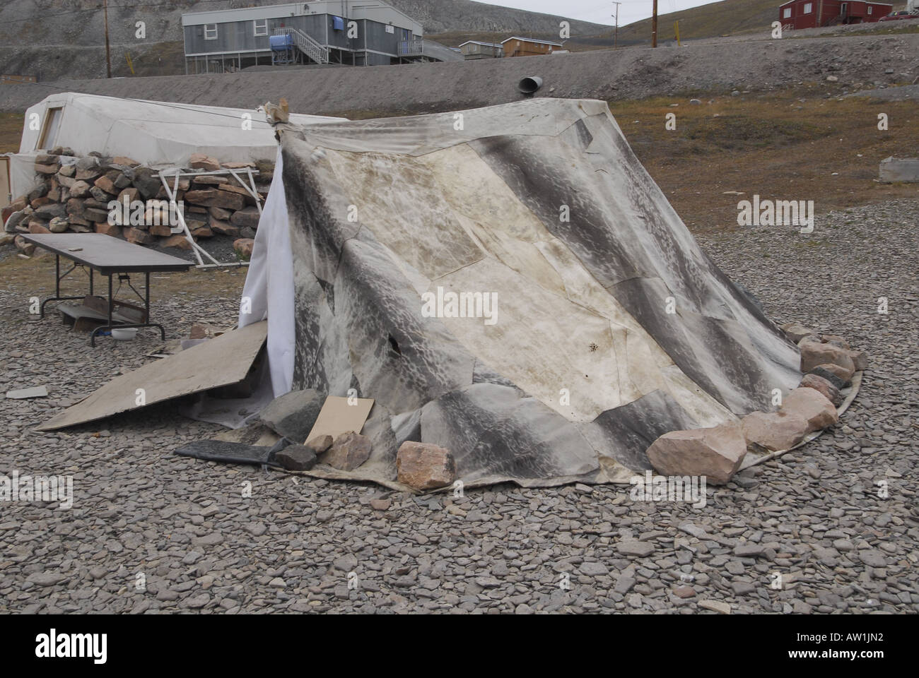 Traditional tent made with ring seal skin and fur Coastal Inuit community of Arctic Bay Lancaster Sound HIgh Arctic Baffin Islan & Traditional tent made with ring seal skin and fur Coastal Inuit ...