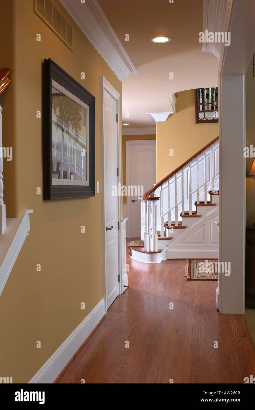 Hallway and stairs house home interior usa stock photo for Home interiors usa