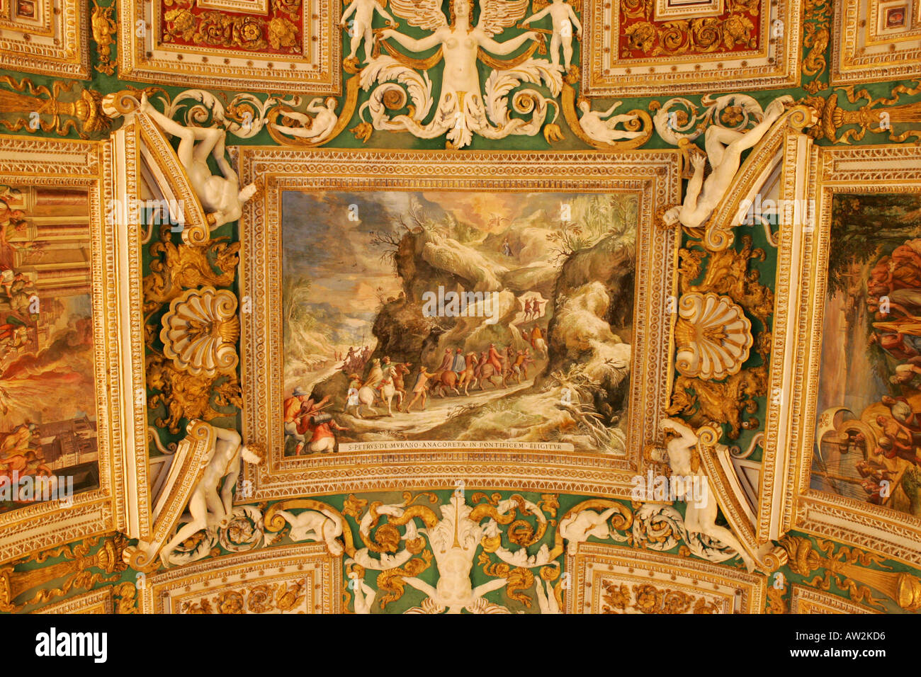 bright italian renaissance paintings on the ceiling of a corridor