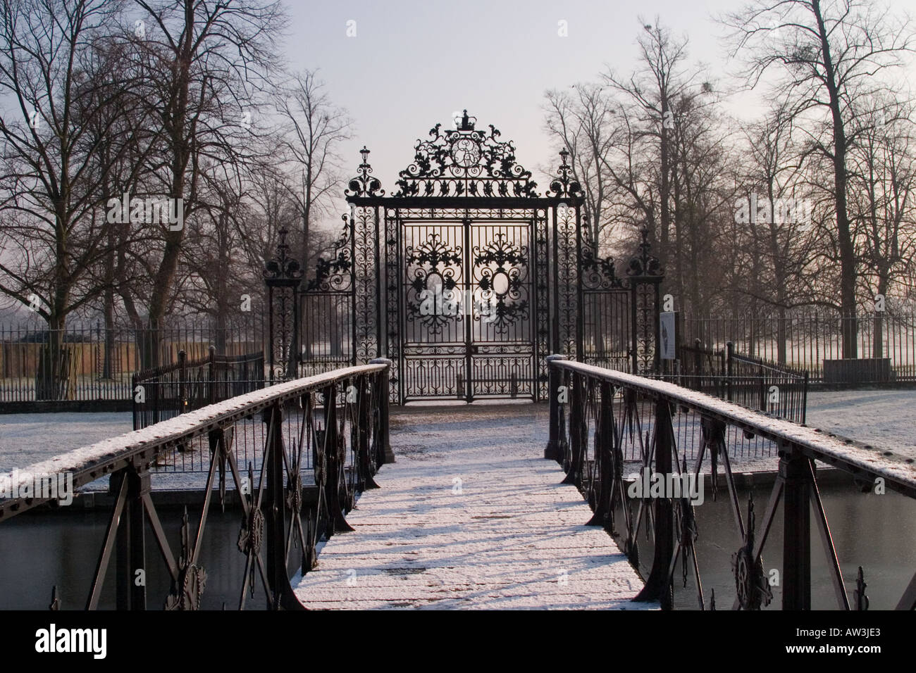 Gates From Home Park To Hampton Court In Winter Snow