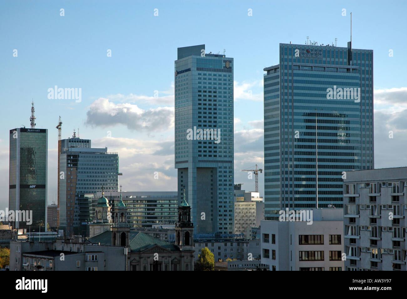 Panorama of warsaw with hotel marriott left hotel inter for Continental centre hotel