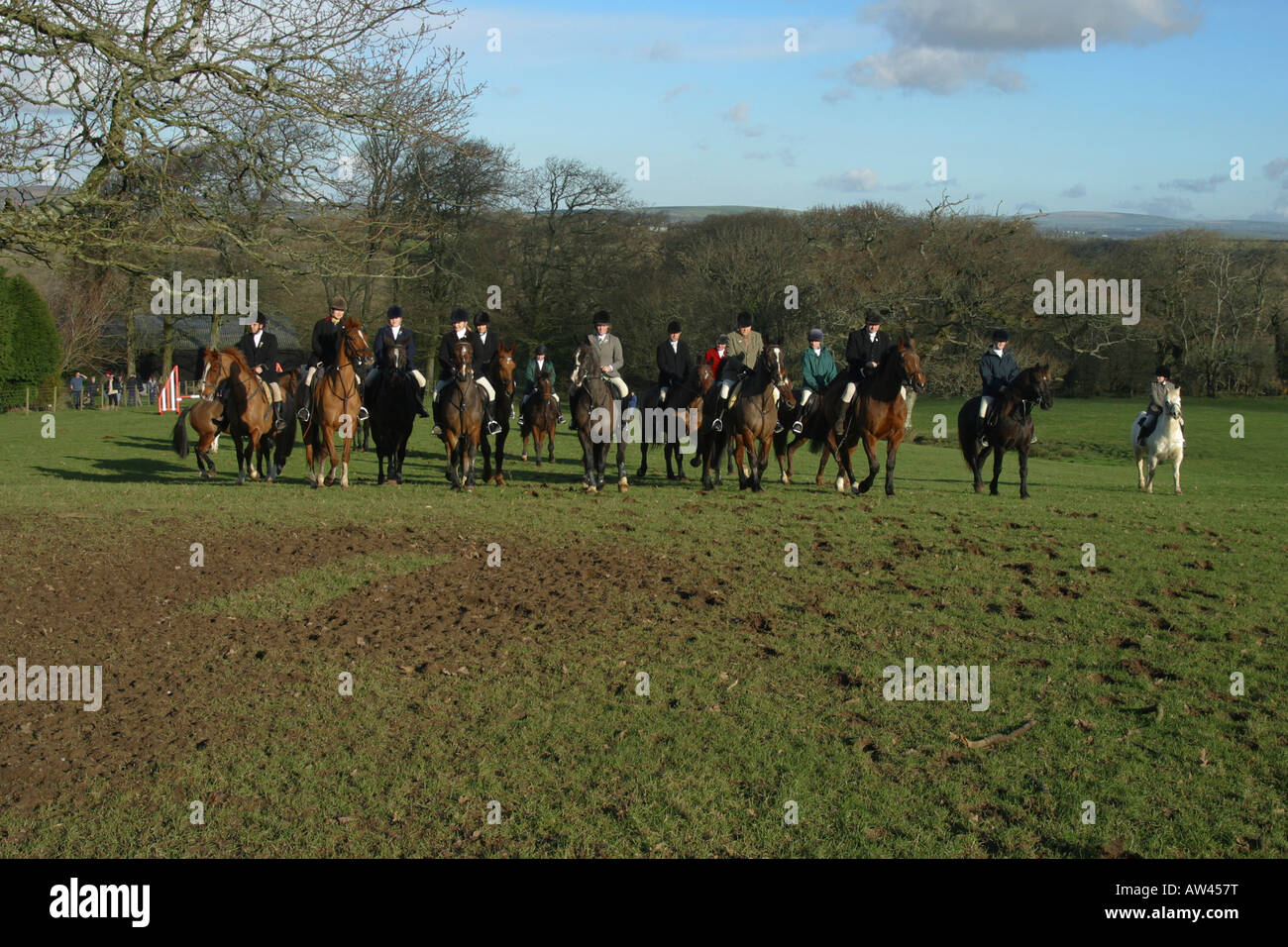 Fox Hunt Horses And Hounds Looking For Fox. Red Coat. Farm Land