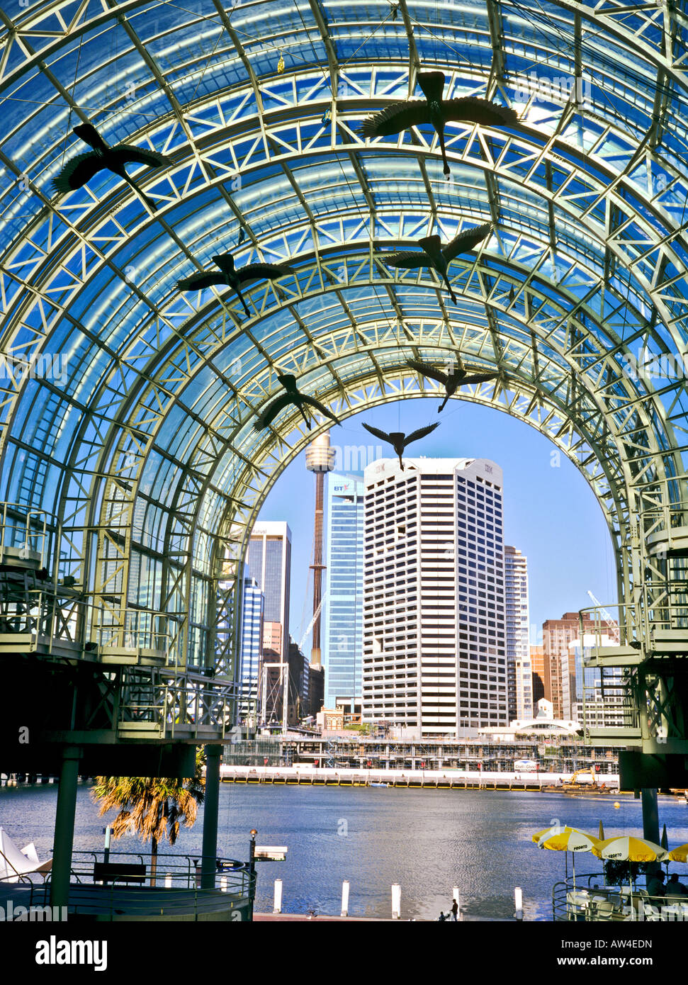 Tall glass canopy of Harbourside Shopping Centre at Darling Harbour Sydney Australia & Tall glass canopy of Harbourside Shopping Centre at Darling ...