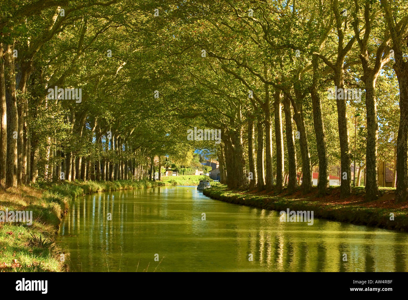 Canal du midi in trebes languedoc france stock photo for Architecte canal du midi