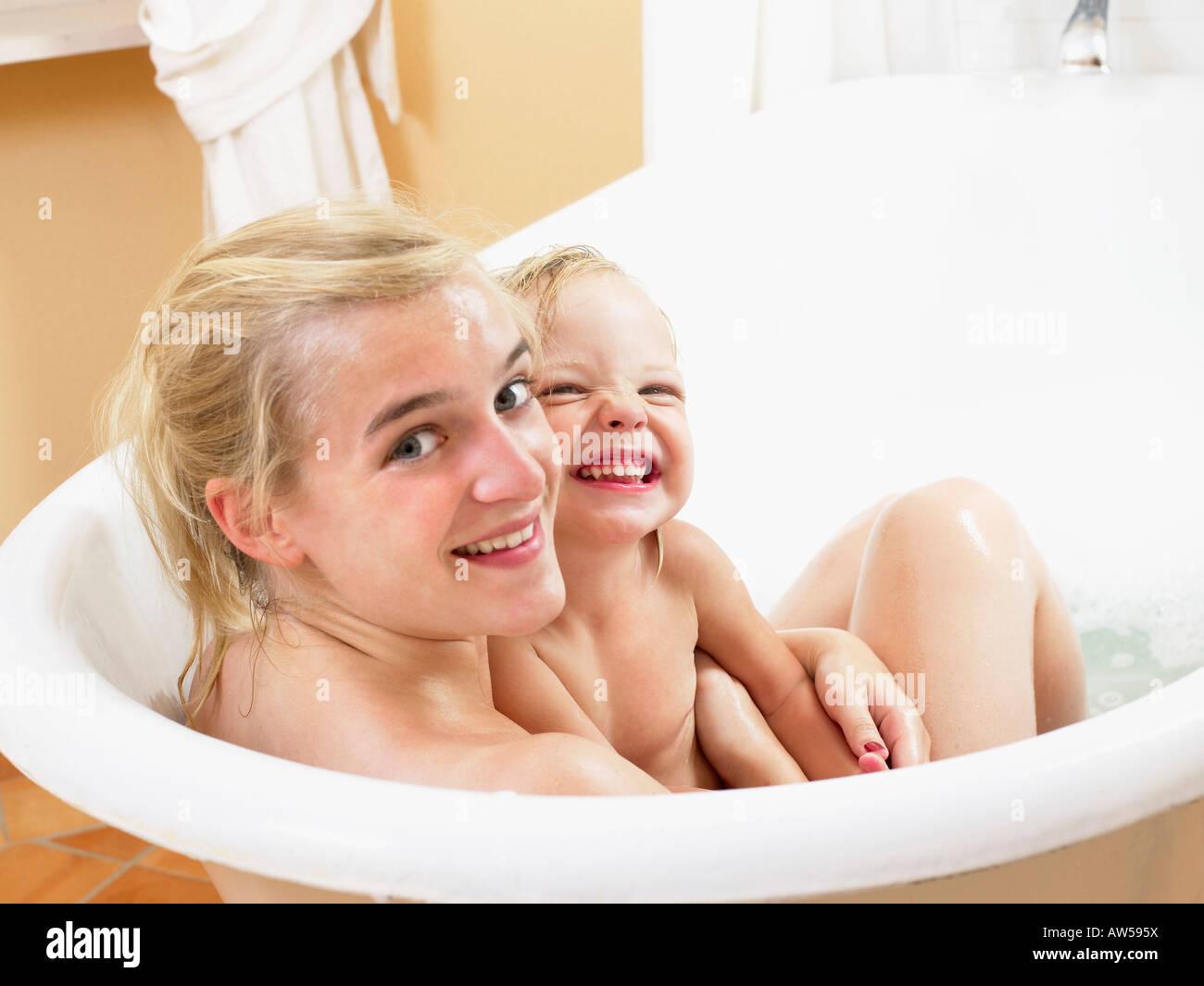 Mom taking bath