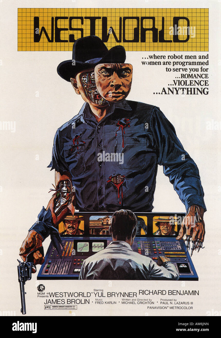 westworld poster for 1973 mgm film with yul brynner