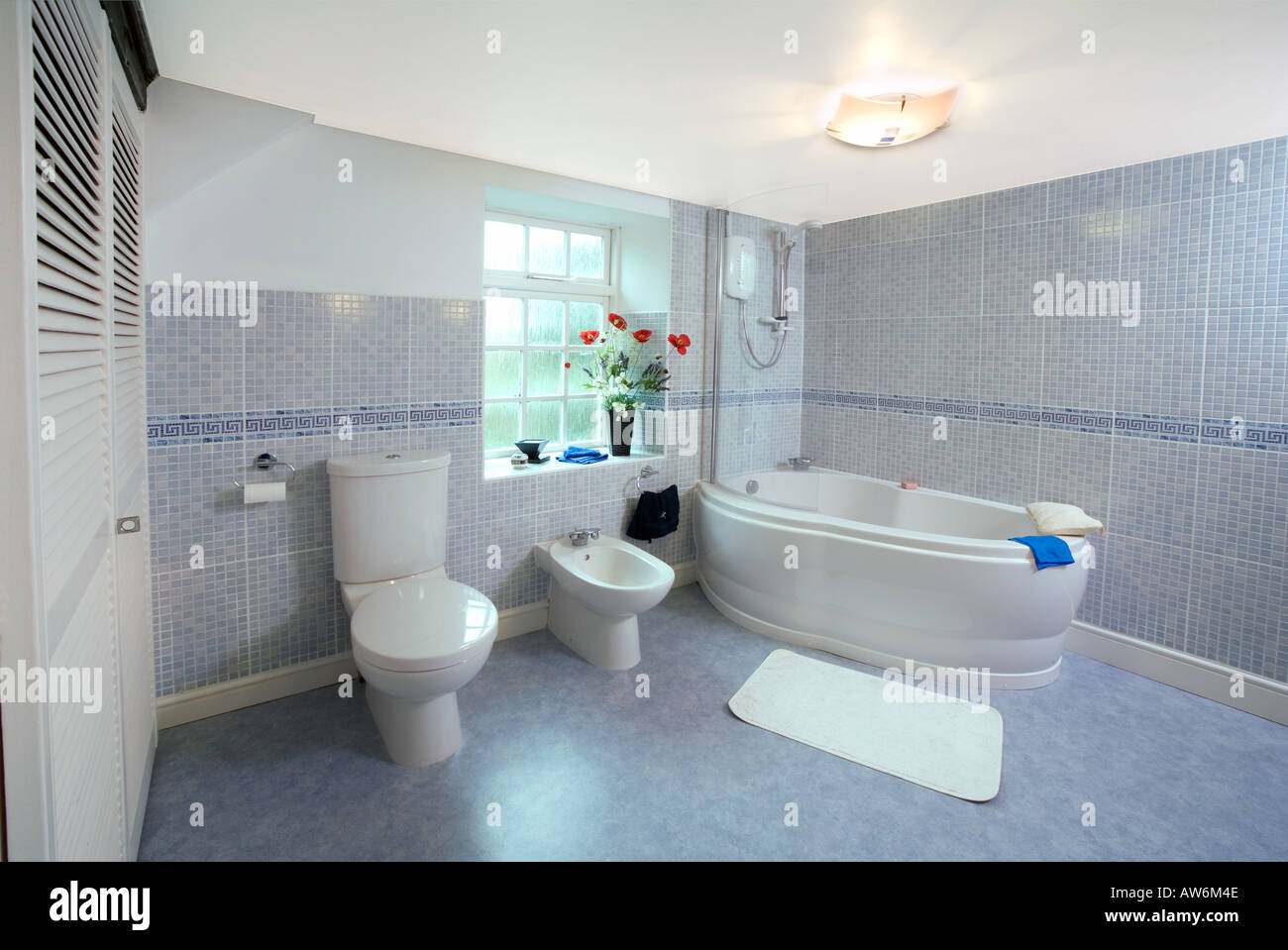 Bathroom Uk Modern Tiled Bathroom Uk With Bath Bidet And Toilet Stock Photo