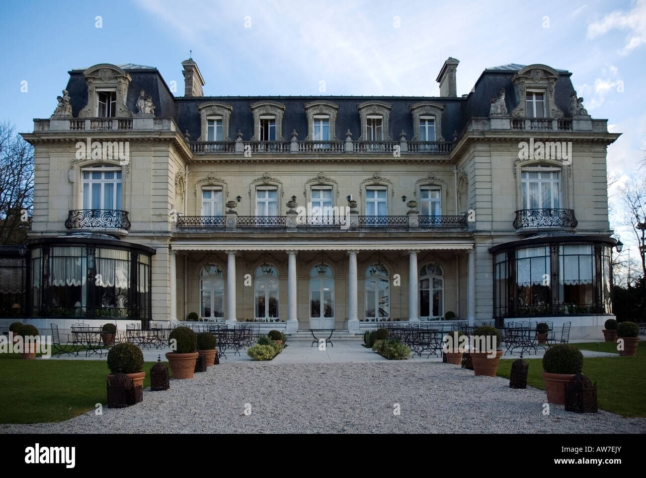 exterior of traditional french architecture chateau les
