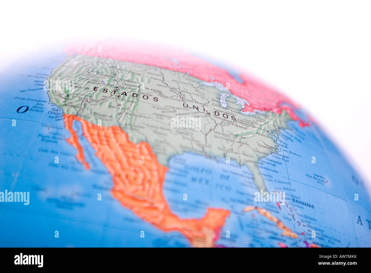 World Globe Map Of North America With Shallow Depth Of Field And - World globe map