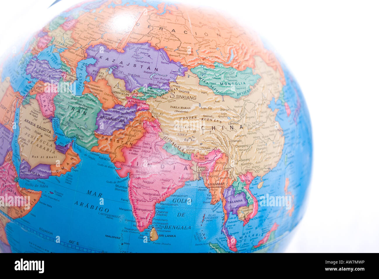 Stock Photo  World Map Globe Showing Asia Continent Isolated On White  Background
