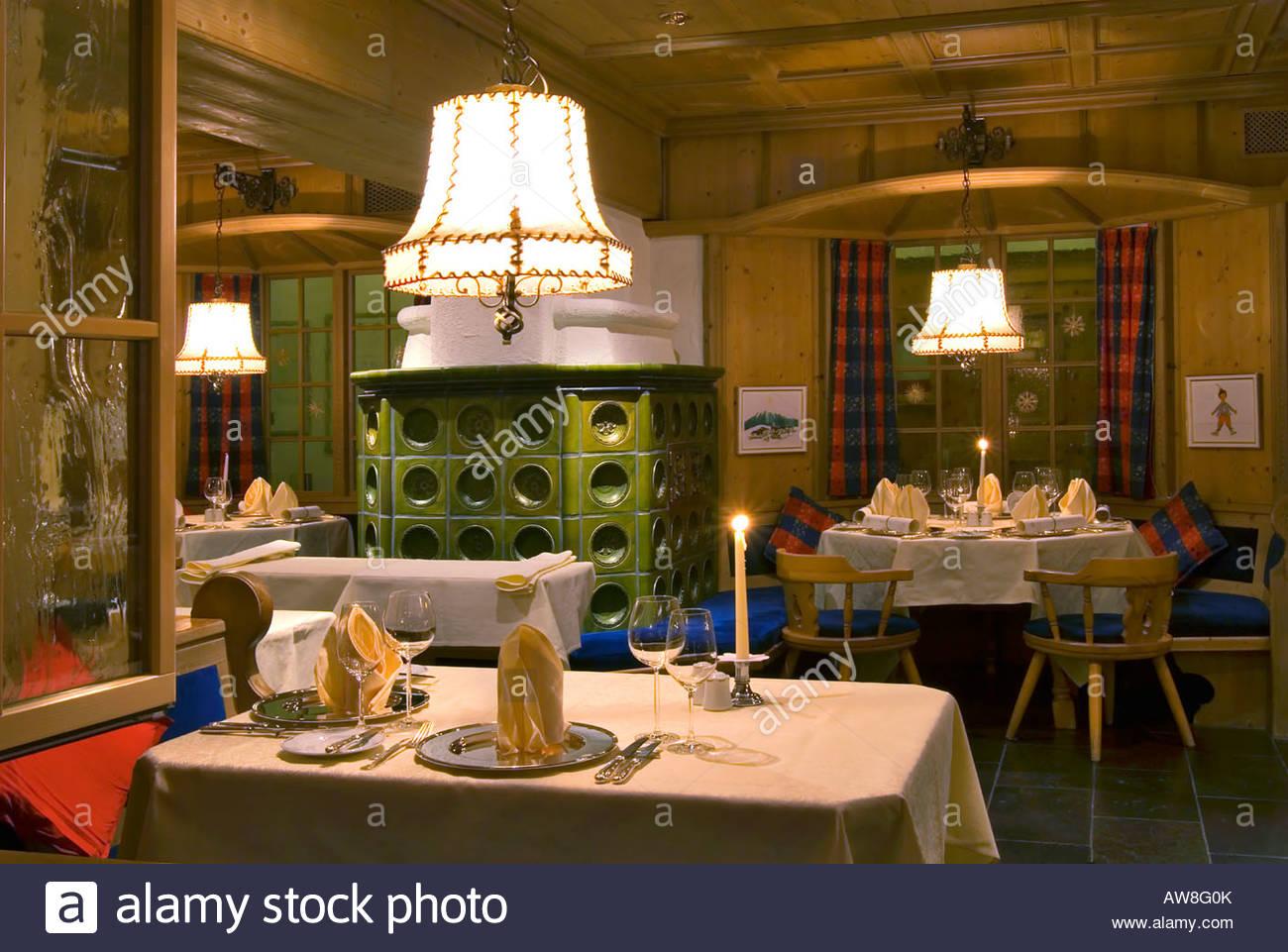 candle light dinner set up at a high class swiss german restaurant