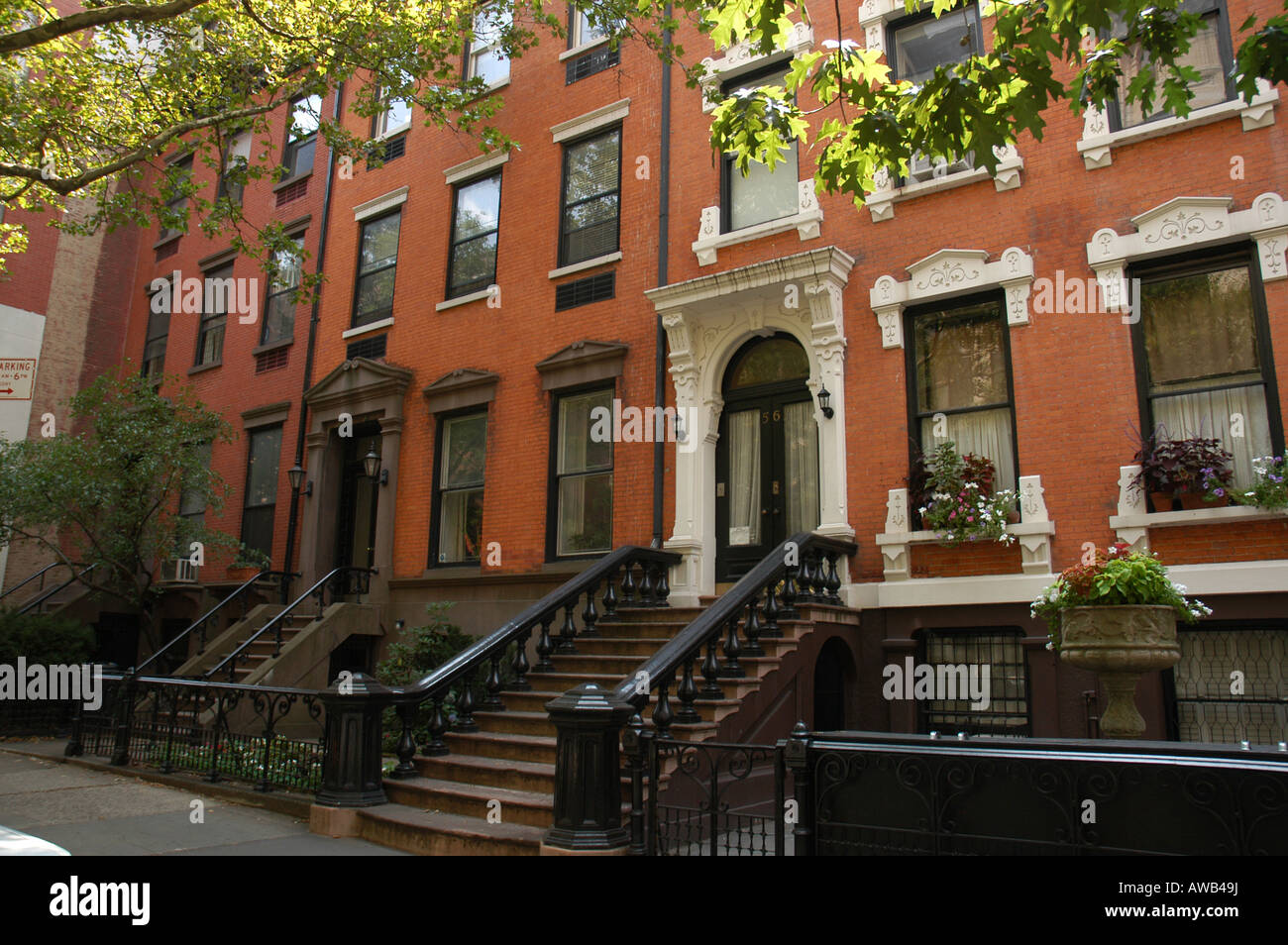 houses in brooklyn heights new york usa stock photo